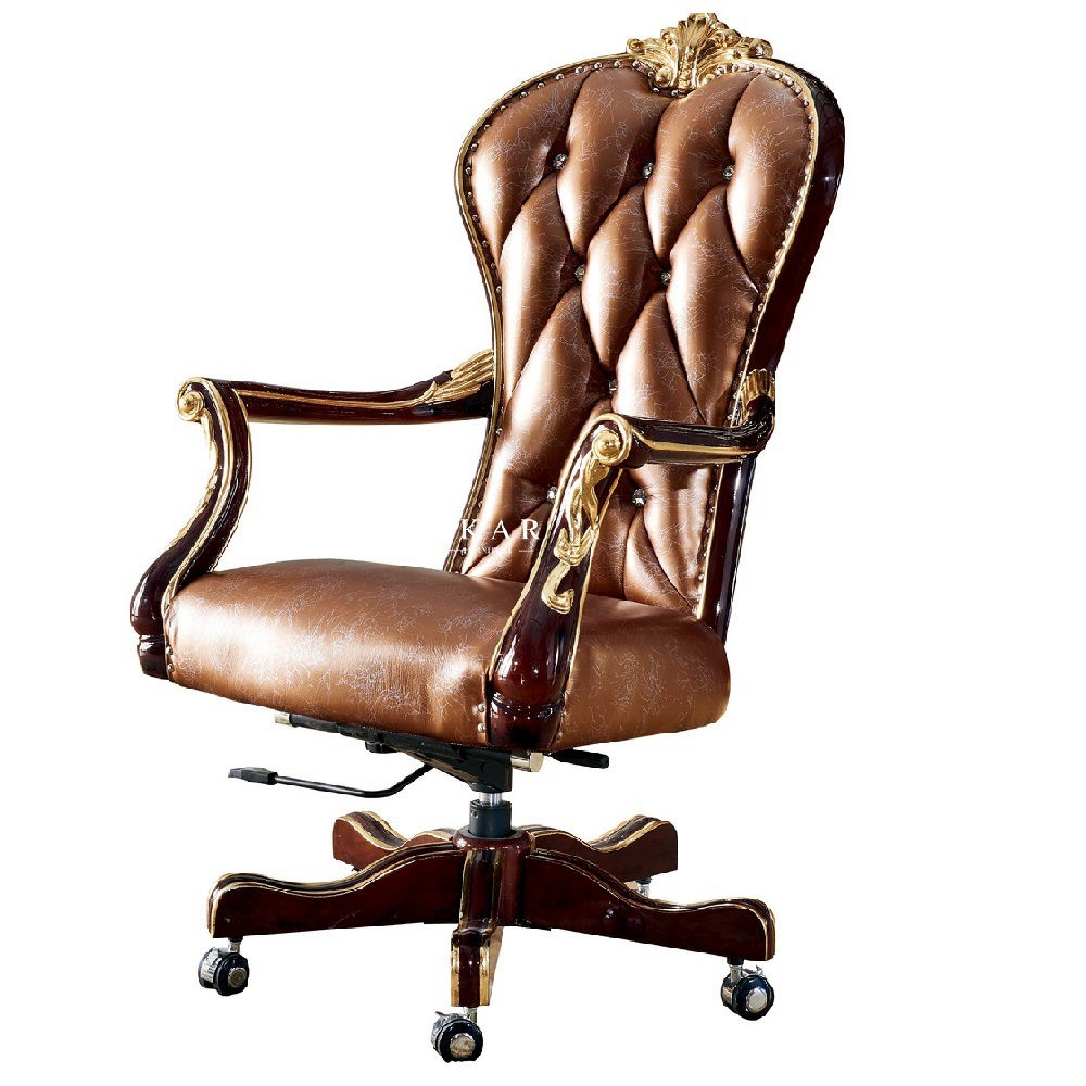 Classical Luxury Antique Leather Wooden Home Office Chair
