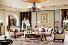 Classic Elegant Living Room Furniture Leather Luxury Sofa Set