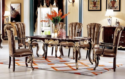 Luxury 8 Seater Carved Gloss Veneer Top Wooden Dining Table