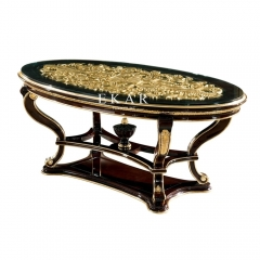 Luxury Golden Carving Oval-shaped Glass Top Dining Table