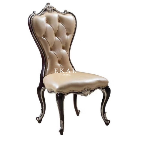 Luxury European Style Antique Elegant Solid Wood Frame Leather Dining Chair