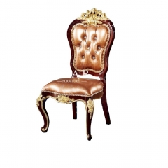 Classic Leather Solid Wood Luxury Upholstered Antique Dining Chair