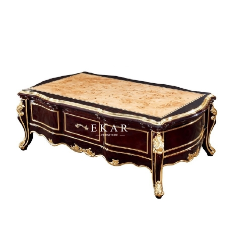 Classic Living Room Furniture Luxury High Gloss Marble Top Wooden Coffee Table