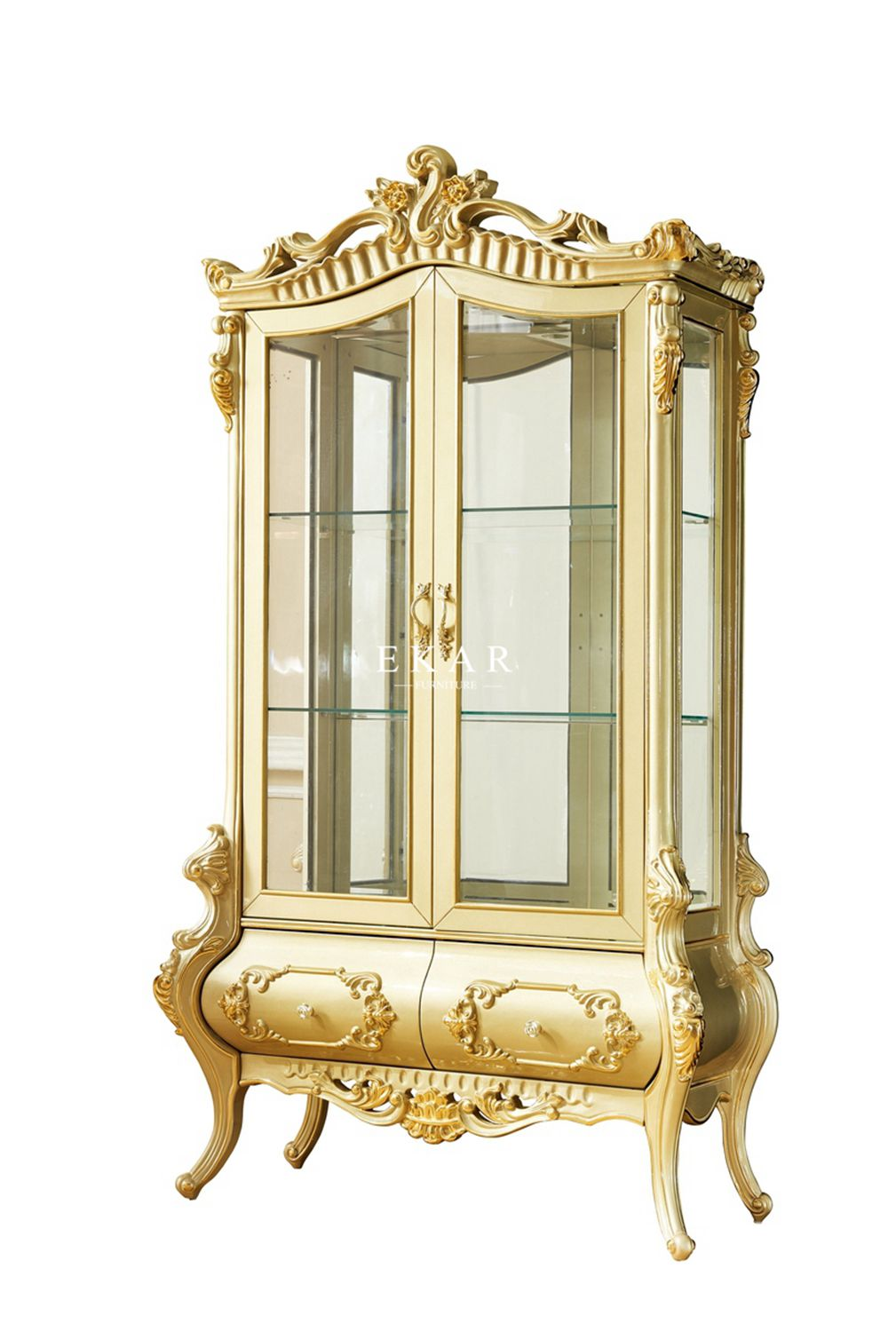 Luxury Living Room Corner Showcase Storage Glass Cabinet