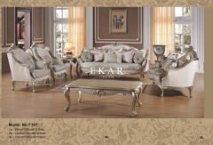 Gold Carved Fabric Luxury Antique Sofa Set