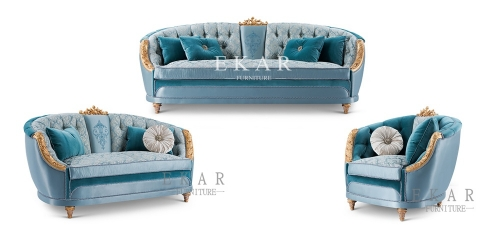 Elegant Classic Carving Living Room Furniture 6 Seater Fabric Sofa Set