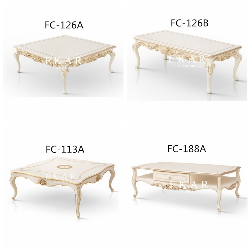 Retro European Style White Rectangle Coffee Table
