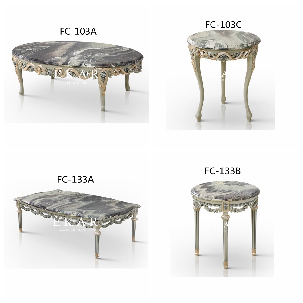 classic wooden carving living room marble coffee table set