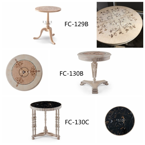 Ash Wooden Round Shaped Living Room Corner Table