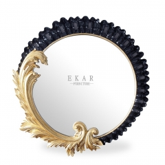 Mirror Black Carved Framed Circle Shaped Wooden Wall Console Mirror