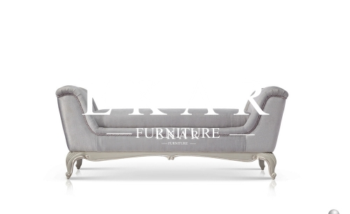 French Luxury Style Comfortable Grey Bed Bench with Flank