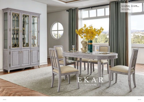 American high-end oval dining table with chairs