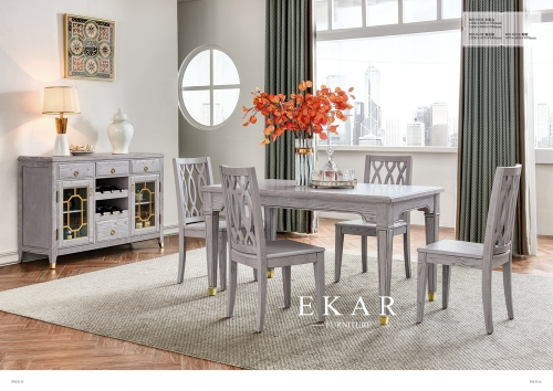 American classic gray dining table chairs