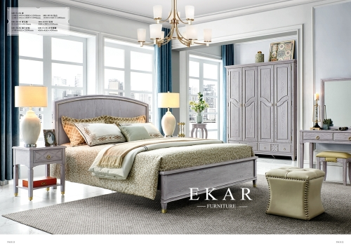 American design solid oak wood bed with wardrobe