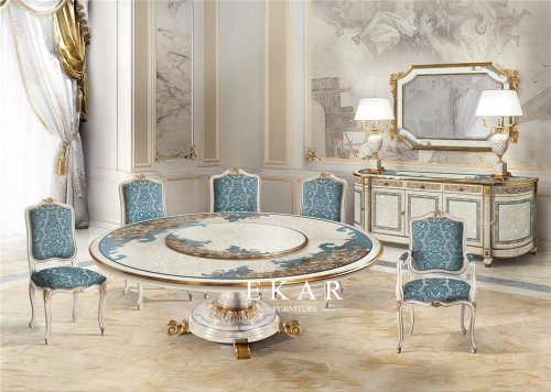 Full Dining Furniture Set Round Shell Luxury Dining Table