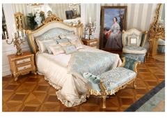 Luxury French Design Bed with Side Table