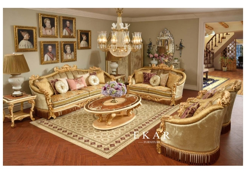 Royal Family Living Room Velvet Fabric Sofa