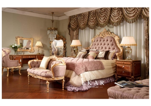 Italy Design Pink Velvet Bed with Dresser