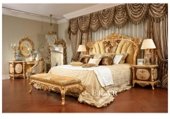 Italy Design Golden Silk Fabric Bed with Ottoman