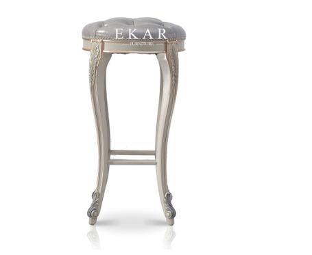The Latest French Luxury Style High Grey Leather Bar Stool