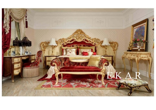 High End European Style Bedroom Furniture Set Bed Nightstand Dressing Table
