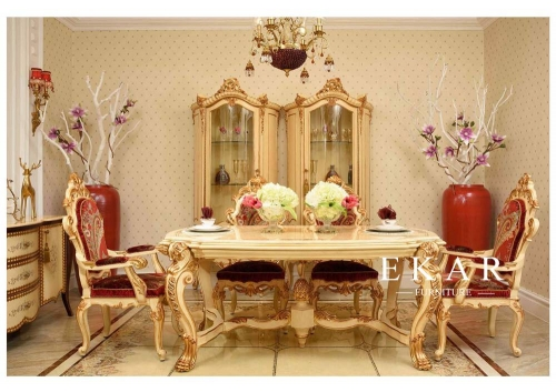 Exquisite Red and Gold Design Dining Room Furniture Sets