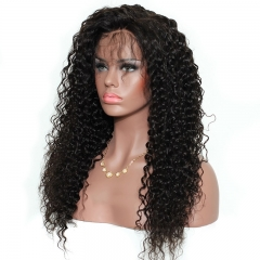 Curly Full Lace Wig 250% Density With Babay Hair Around Bleached Knots 8A Grade Natural Color Deep Curly Human Hair Natural Color Unprocessed