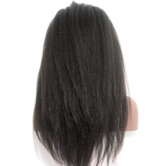 Full Lace Wig Brazilian 100% Virgin Human Hair Kinky Straight 250% Density Coarse Yaki Lace Front Wigs with Baby Hair Around For Black Women