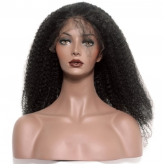 Full Lace Wigs With Baby Hair 250% Density Brazilian Human Hair Virgin Hair Afro Kinky Curly Lace Wigs 24inch  Bleached Knots