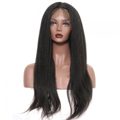 African American Full Lace Wigs Human Hair Lace Wig 250% Density Light Yaki Pre-Plucked Natural Color Hair Bleached Knots With Baby Hair