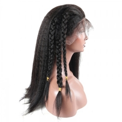 200% Density Pre Plucked 360 Lace Frontal Wig Kinky Straight Human Remy Hair Natural Black Color