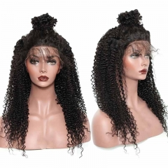 360 Lace Frontal Full Wig 180% Density Kinky Curly Brazilian Hair Wigs Natural Color Virgin Human Hair Pre Plucked Wig Bleached Knots