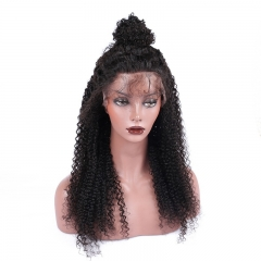 360 Lace Wig Afro Kinky Curly Virgin Braziian Human Hair Natural Black Pre Plucked 200% Density With Natural Hair Line Bany Hair Around Fast Shipping