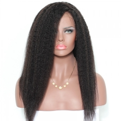 Black Human Hair Wigs 200% Density Kinky Straight 360 Lace Wigs Virgin Human Hair Natural Hair Line Pre Plucked