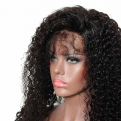 High Quality 360 Lace Wigs 200% Density Deep Curly Natural Color Human Hair No Tangle No Shedding With Baby Hair Around