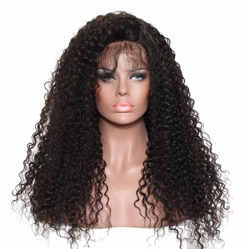 360 Lace Wigs 200% Density Deep Curly Natural Color Human Hair No Tangle No Shedding With Baby Hair Around