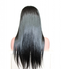 Pretty Lace Front Wigs Natural Black Silk Straight 100% Indian Hair Bleached Knots Natural Baby Hair Around Pre-Plucked For Black Women