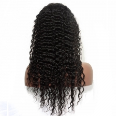 Women's Human Hair Wig Natural Black 100% Brazilian Virgin Hair Deep Wave Lace Front Wigs Bleached Knots Natural Hair Line Natural Baby Hair Around