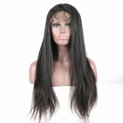 Popular Lace Front Wigs Peruvian Virgin Hair Light Yaki Natural Baby Hair 130% Density Pre Plucked Natural Hairline