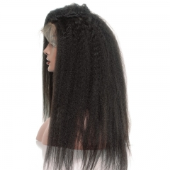 Natural Color Brazilian Virgin Human Hair Kinky Straight Lace Front Wigs Pre Plucked Natural Hair Line Bleached Knots