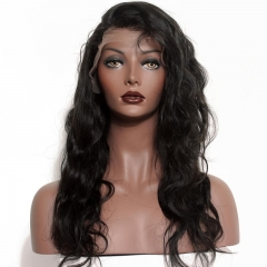 Swiss Lace Wigs Natural Black Malaysian Virgin 100% Human Hair Wig Body Wave Lace Front Wigs With Baby Hair Bleached Knots