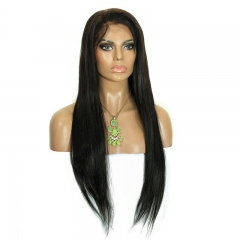 Natural Black (#1 #1B #4) Silk Straight Malaysian Virgin Human Hair Wig Lace Front Wigs
