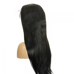 Straight Human Hair Lace Front Wigs Natural Black Brazilian Hair 100% Brazilian Virgin Human Hair Natural Color Bleached Knots Natural Baby Hair