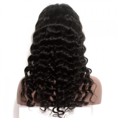 Brazilian Loose Wave Lace Front Ponytail Wigs No Shedding No Tangle 180% Density Pre-Plucekd Natural Hair Line Natural Color Human Hair