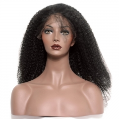 Affordable Human Hair Wigs Natural Black Brazilian Virgin Human Hair Natural Color Afro Kinky Curly Wig Lace Front Wigs With Baby Hair Bleached Knots