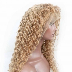 Lace Front Wig Honey Blonde #27 Deep Wave Brazilian 130% Density Wig With Baby Hair Bleached Knots