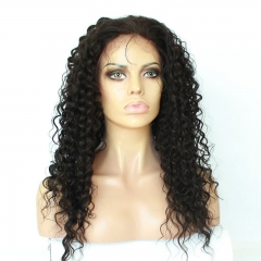Lace Front Wigs Human Hair Natural Black High Quality 100% Virgin Hair Deep Curly Brazilian Hair Bleached Knots Pre-Plucked Natural Hair Line