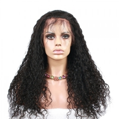 Lace Front Wigs Natural Black High Quality Human Hair Water Wave 100% Human Hair Wig Hidden Knots Pre-Plucked Natural Hair Line