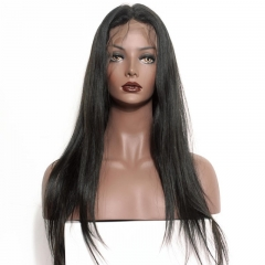 Lace Front Wigs For Sale Online Natural Color Silky Straight Human Hair Wig With Baby Hair Pre-Plucked Natural Hair Line Bleached Knots
