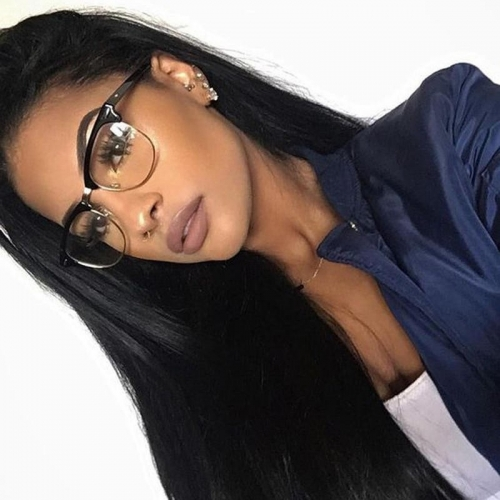Straight Human Hair Lace Front Wigs Natural Black Brazilian Hair Brazilian Human Hair Natural Color Bleached Knots Natural Baby Hair
